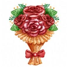 手绘水彩春季玫瑰花束