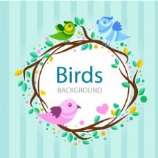 条纹卡通春季花鸟海报