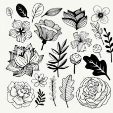 黑白手绘春季花卉线稿