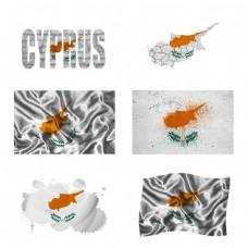 塞浦路斯国旗地图图片