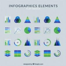 一组绿色信息图表ppt元素