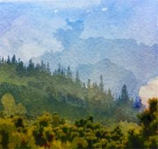 水彩绘森林风景矢量素材