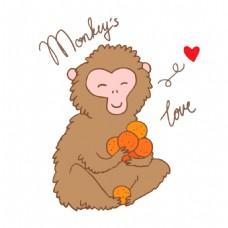捧着水果高兴的猴子