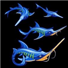 手绘蓝色尖嘴的海底鱼