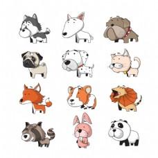 各种动物夸张的手绘卡通图