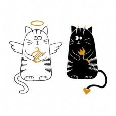 手绘黑白两只可爱的小猫
