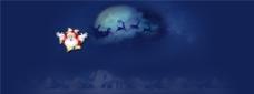 经典蓝色天空月亮图片