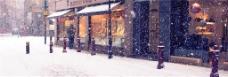 冬季街道雪景背景banner素材