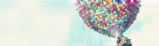 飞行的彩色气球banner背景