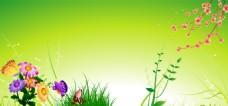 春暖花开绿色背景图片