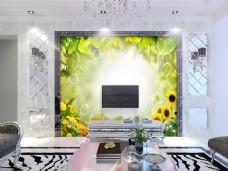 向日葵装饰背景墙