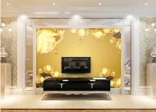 金色花卉元素背景墙