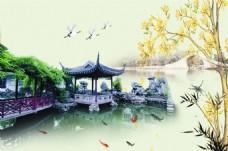 江南风光背景墙