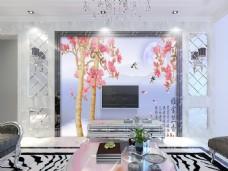 树木花卉装饰背景墙