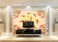 金色鱼类背景墙