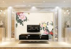 牡丹花卉背景墙
