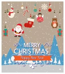 可爱的圣诞装饰插画