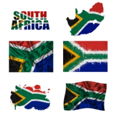 南非地图国旗图片