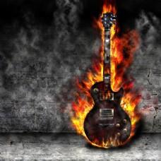 火焰中的吉他图片