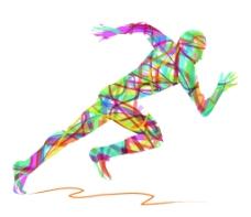 彩色丝带跑步者矢量图