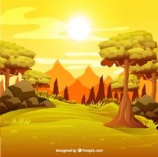 森林中日落