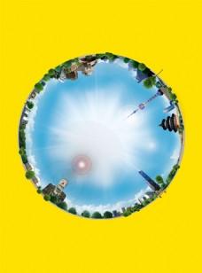 城市圆形缩略图广告背景