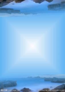 蓝色海洋山石背景