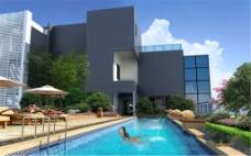 别墅区的露天泳池