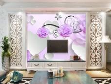 紫色花卉装饰背景墙