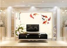 金鱼花卉背景墙