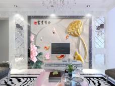 荷花莲花装饰背景墙