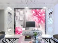 花卉立方块背景墙