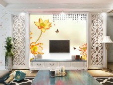 抽象荷花装饰背景墙
