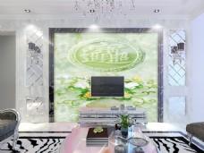 绿色装饰玉雕背景墙