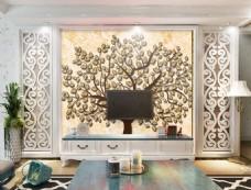 树木装饰背景墙