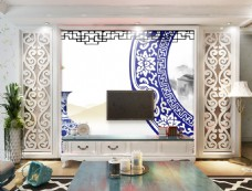 瓷器花纹装饰背景墙