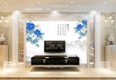 蓝色花卉背景墙