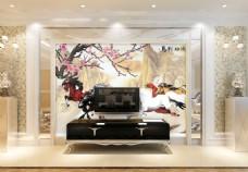 梅花装饰画背景墙