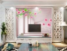 花卉走廊背景墙