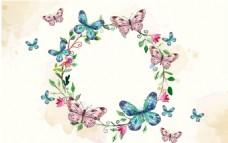 手绘水彩春季蝴蝶花环