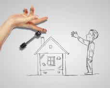 手中的钥匙和手绘房子图片