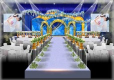 蓝金色婚礼效果图