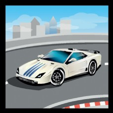 白色卡通跑车设计图