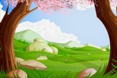 矢量卡通春天草原背景素材