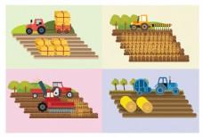 扁平农作拖拉机插画