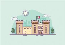手绘卡斯特尔城堡建筑