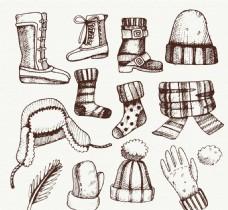 手绘冬装素材