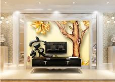 树木元素背景墙