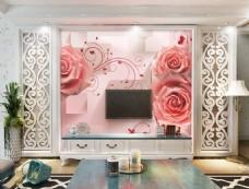 玫瑰花卉背景墙