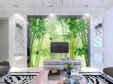 绿色竹子背景墙